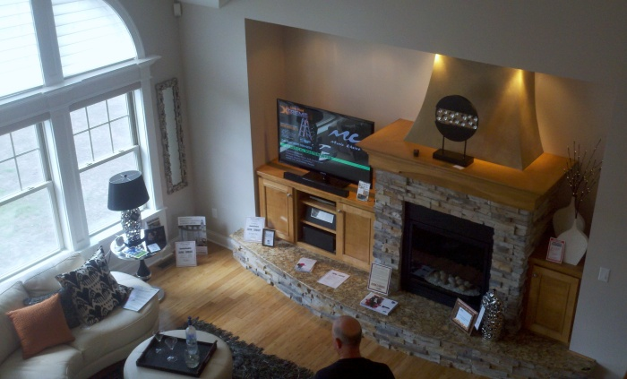 Not a man-cave, but a beautiful fireplace and window in the main living area of one of the Riverwalk homes.