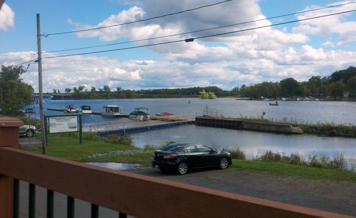 Looking out on the Oneida River from the Waterfront's deck.