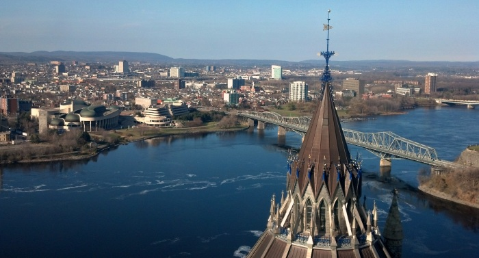 Looking down at the Ottawa River from the Peace Tower.