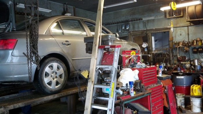 At the Chevron garage in Lowville.