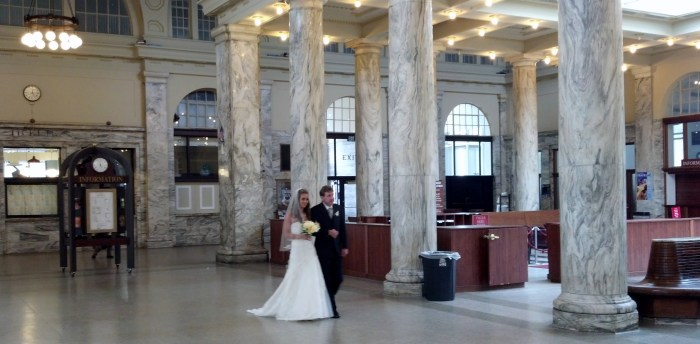 Utica train station wedding