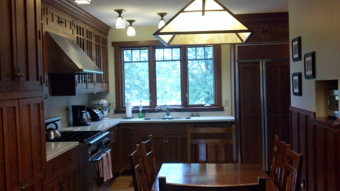 These light fixtures were beautiful accents in the kitchen of the Craftsman Suites building.